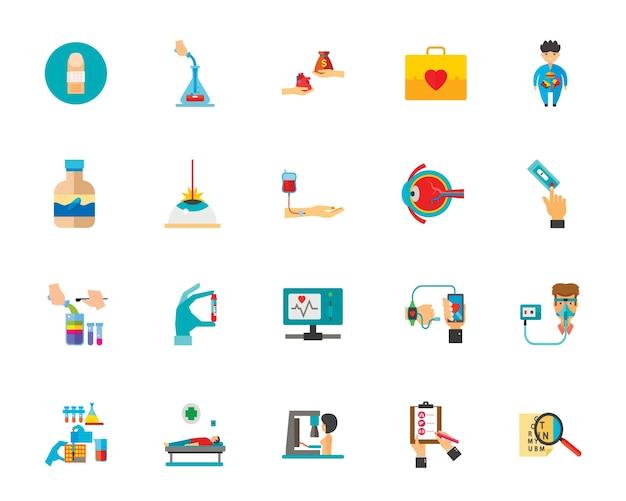 Jeu d'icônes de médecine Vecteur gratuit