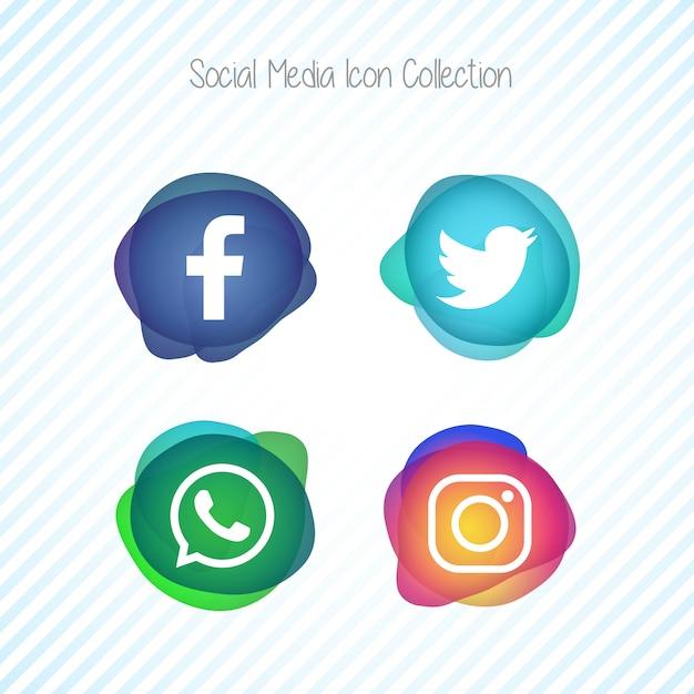 Jeu d'icônes de médias sociaux créatifs memephis fluid Vecteur gratuit