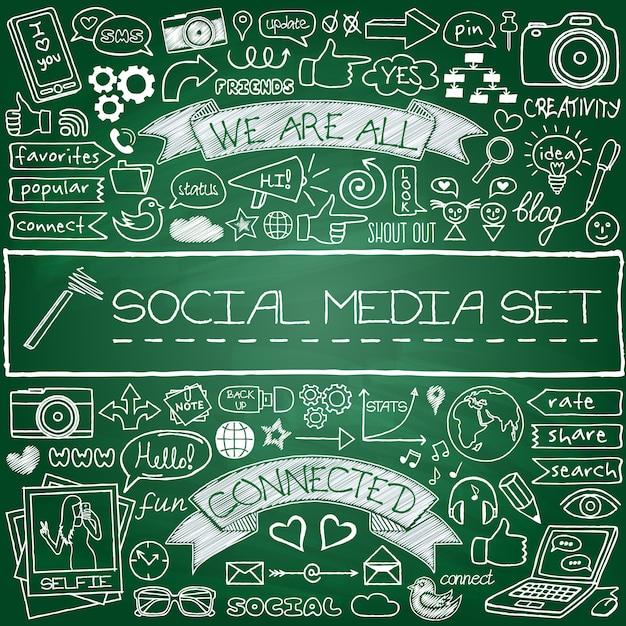 Jeu d'icônes de médias sociaux doodle Vecteur Premium