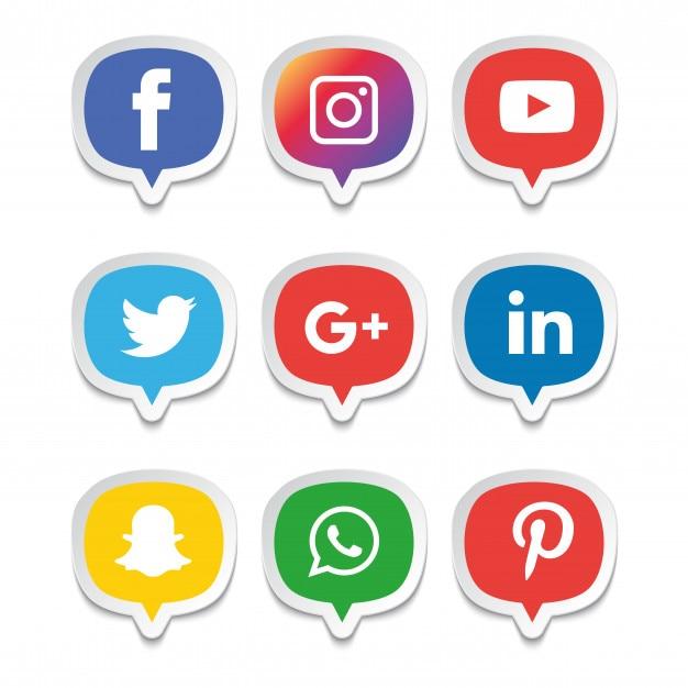 Jeu d'icônes de médias sociaux. illustrateur de logo. facebook, instagram, whatsapp, Vecteur Premium