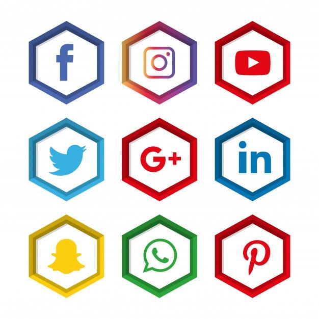 Jeu d'icônes de médias sociaux. logo Vecteur Premium