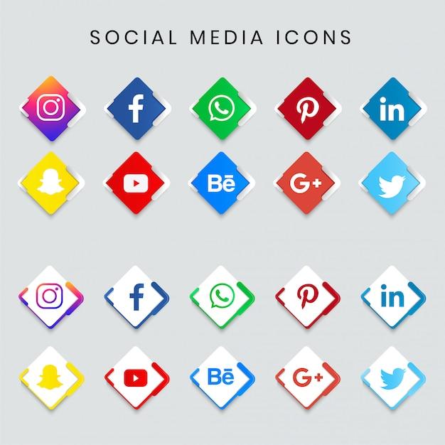 Jeu d'icônes de médias sociaux populaires modernes Vecteur Premium