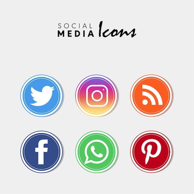 Jeu d'icônes de médias sociaux populaires Vecteur Premium