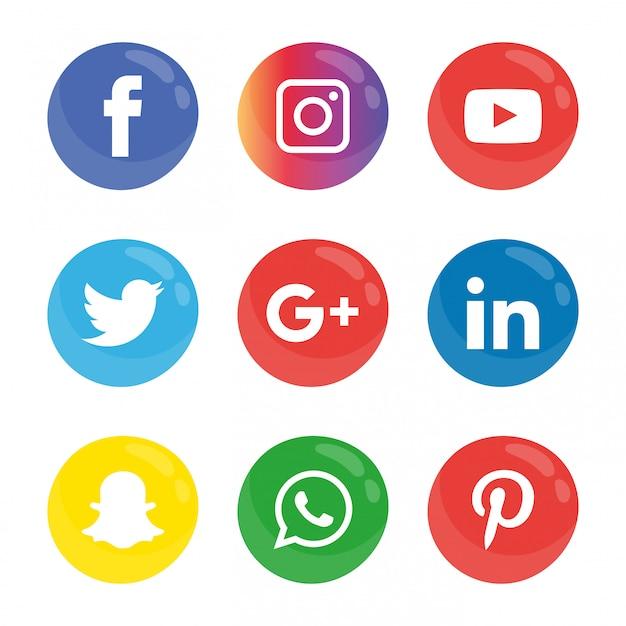 Jeu d'icônes de médias sociaux. Vecteur Premium