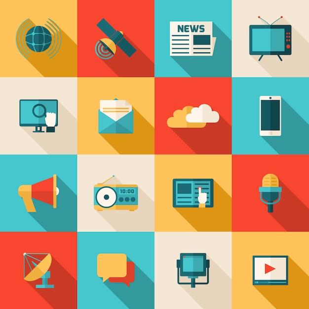 Jeu d'icônes de médias Vecteur gratuit