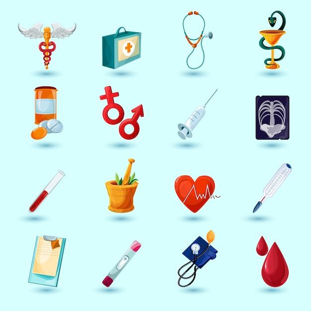 Jeu d'icônes médicales Vecteur gratuit