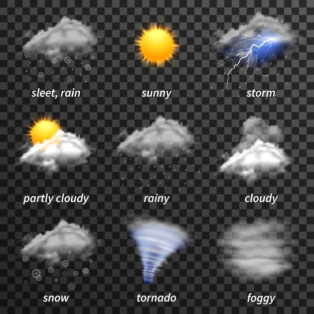 Jeu d'icônes météo réaliste Vecteur gratuit