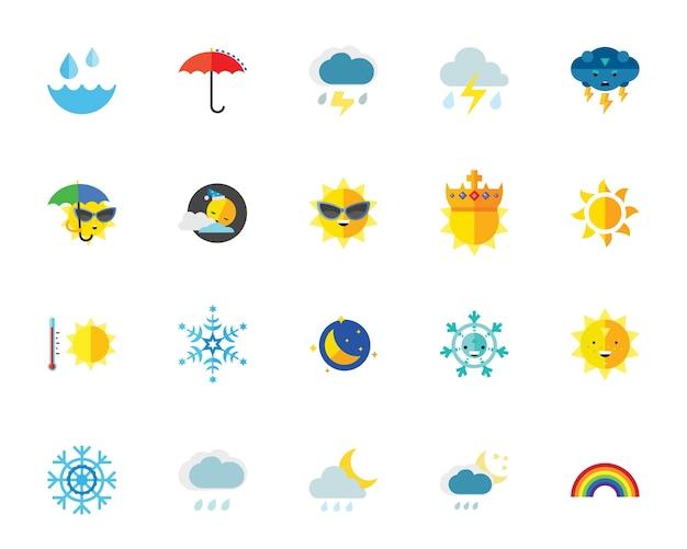 Jeu d'icônes météo Vecteur gratuit