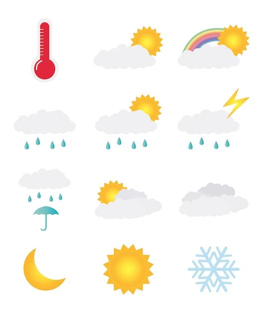 Jeu d'icônes météo Vecteur Premium