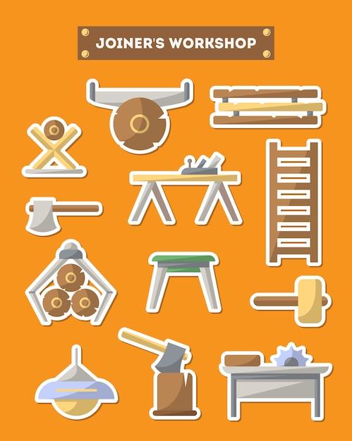 Jeu d'icônes de meubles d'atelier de style plat Vecteur Premium