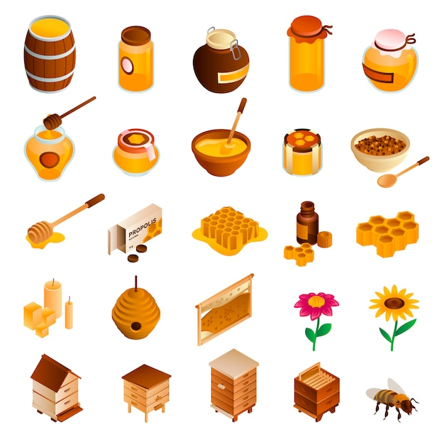 Jeu d'icônes de miel. jeu isométrique de miel Vecteur Premium