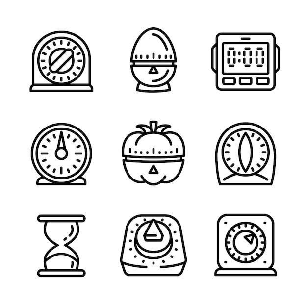 Jeu d'icônes de minuterie de cuisine, style de contour Vecteur Premium