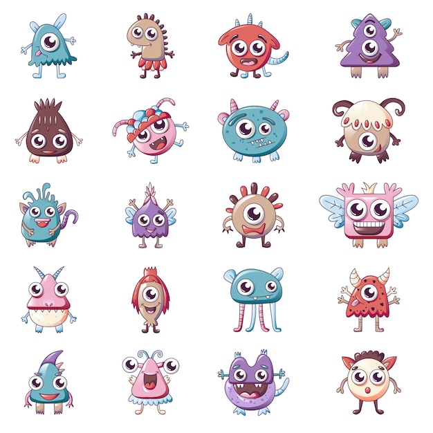 Jeu d'icônes de monstres, style cartoon Vecteur Premium