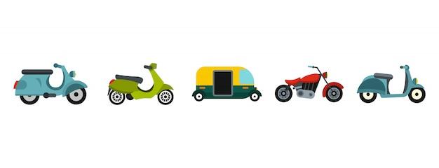 Jeu d'icônes de moto. ensemble plat de collection d'icônes de vecteur moto isolé Vecteur Premium