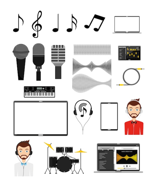 Jeu d'icônes de musique Vecteur gratuit