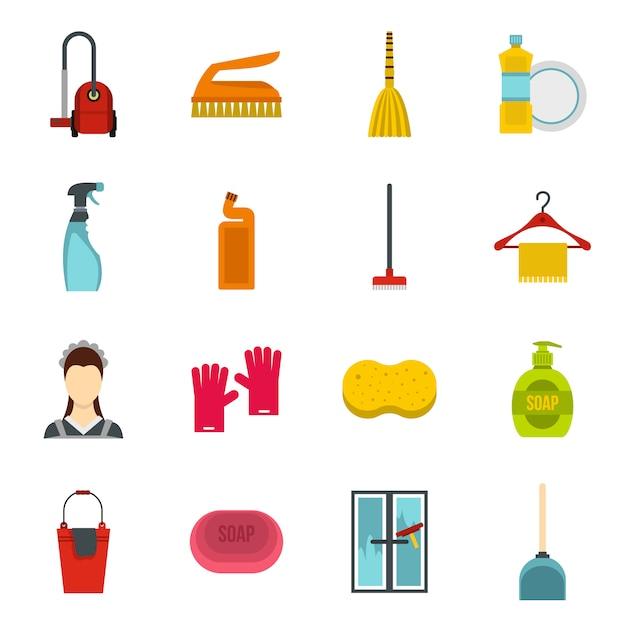 Jeu d'icônes de nettoyage de maison Vecteur Premium