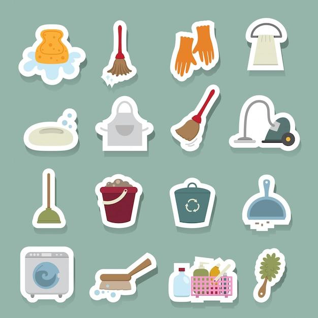Jeu d'icônes de nettoyage Vecteur Premium