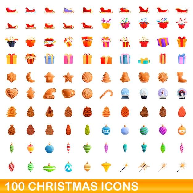 Jeu D'icônes De Noël. Bande Dessinée Illustration D'icônes De Noël Sur Fond Blanc Vecteur Premium