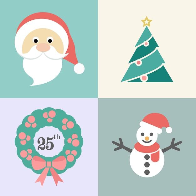 Jeu d'icônes de noël, père noël, arbre de noël, guirlande de noël et bonhomme de neige, illustration vectorielle Vecteur Premium