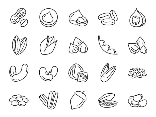Jeu d'icônes de noix, graines et haricots. Vecteur Premium