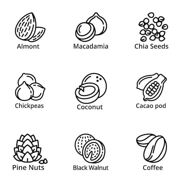 Jeu d'icônes de noix, style de contour Vecteur Premium
