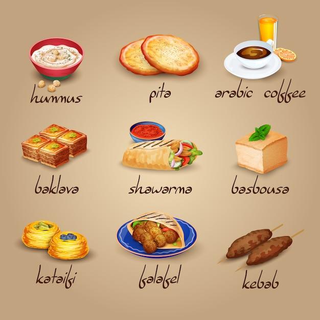 Jeu D'icônes De Nourriture Arabe Vecteur gratuit