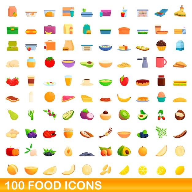 Jeu D'icônes De Nourriture. Bande Dessinée Illustration D'icônes De Nourriture Sur Fond Blanc Vecteur Premium