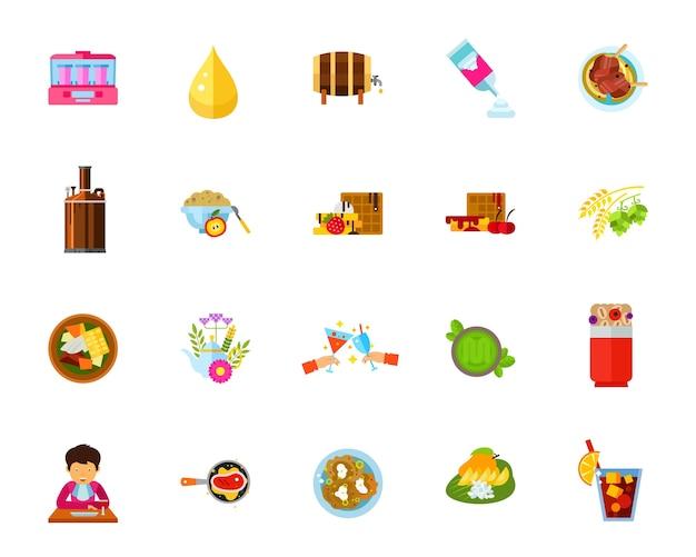 Jeu D'icônes De Nourriture Et De Boissons Vecteur gratuit