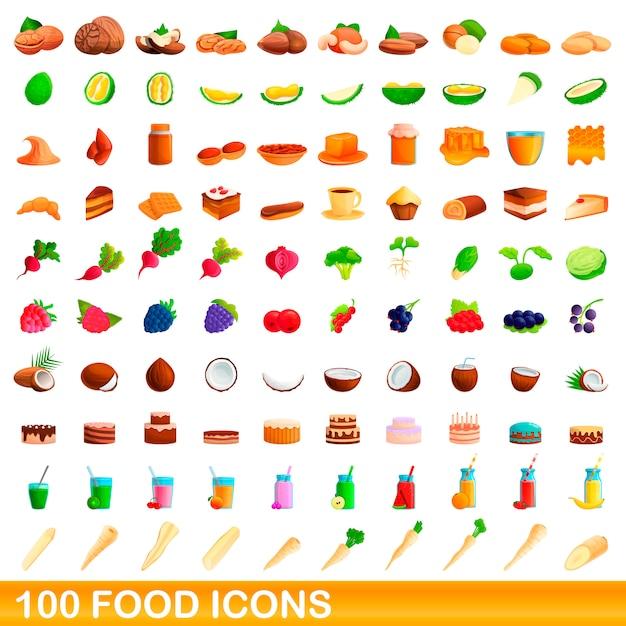 Jeu D'icônes De Nourriture, Style Cartoon Vecteur Premium