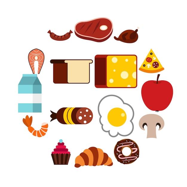 Jeu D'icônes De Nourriture, Style Plat Vecteur Premium