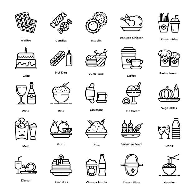 Jeu d'icônes de nourriture Vecteur Premium