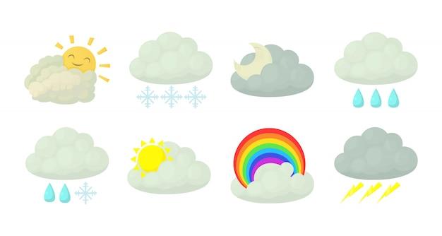 Jeu d'icônes de nuage Vecteur Premium