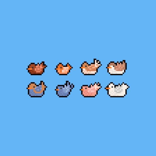 Jeu Dicônes Oiseau Pixel Art Dessin Animé 8 Bits L