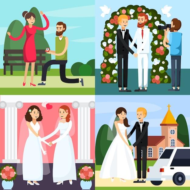 Jeu d'icônes orthogonales personnes mariage Vecteur gratuit