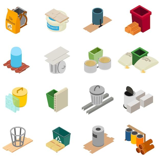Jeu D'icônes D'outil De Construction, Style Isométrique Vecteur Premium