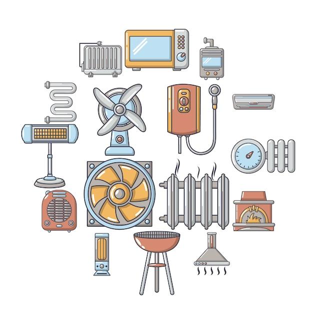 Jeu d'icônes des outils de circulation d'air froid, style cartoon Vecteur Premium