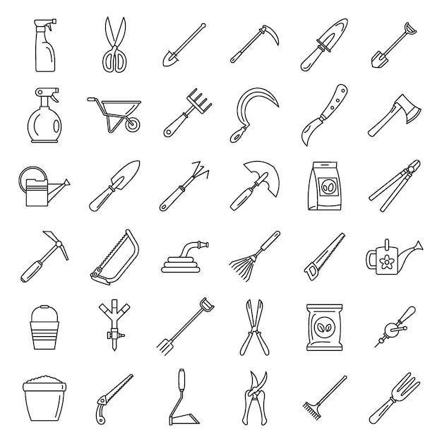 Jeu d\'icônes d\'outils de jardinage à la ferme | Télécharger ...