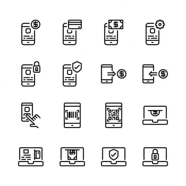 Jeu d'icônes de paiement en ligne Vecteur Premium