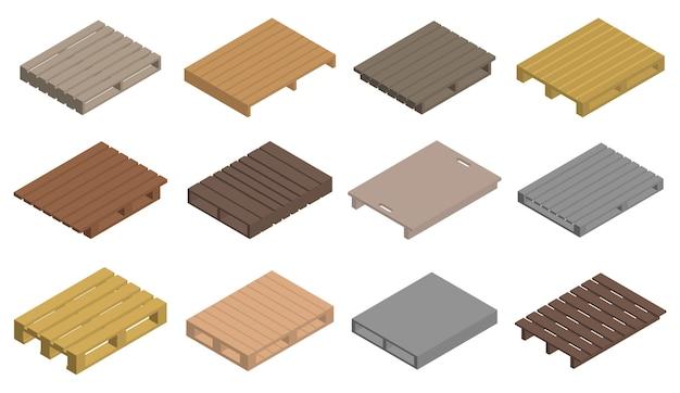 Jeu d'icônes de palette, style isométrique Vecteur Premium