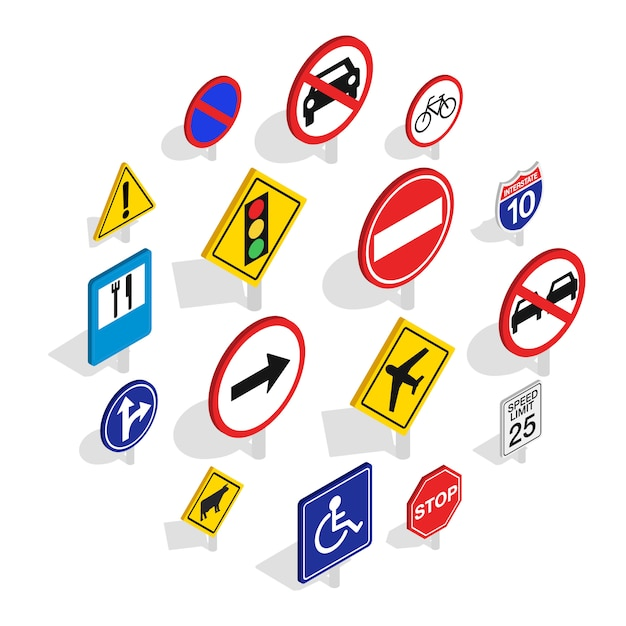 Jeu d'icônes de panneau de signalisation, style isométrique Vecteur Premium
