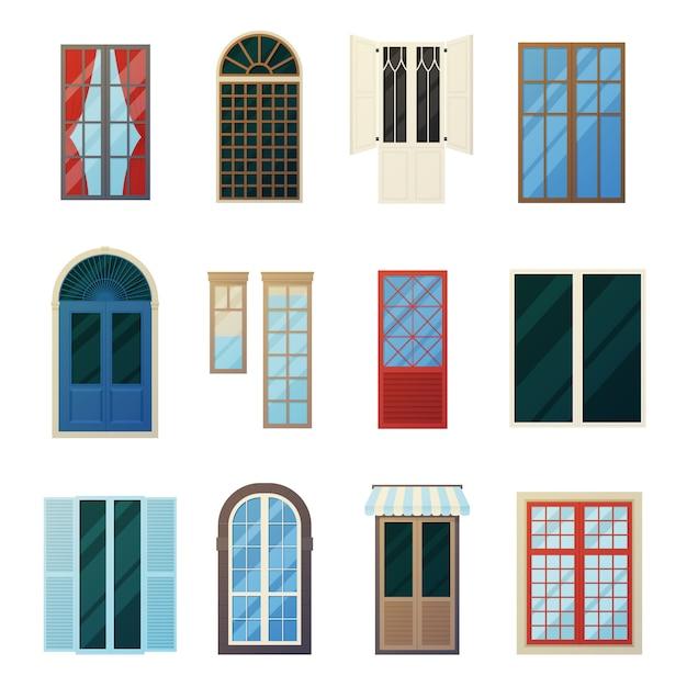 Jeu d'icônes de panneaux de fenêtre muntin bars Vecteur gratuit