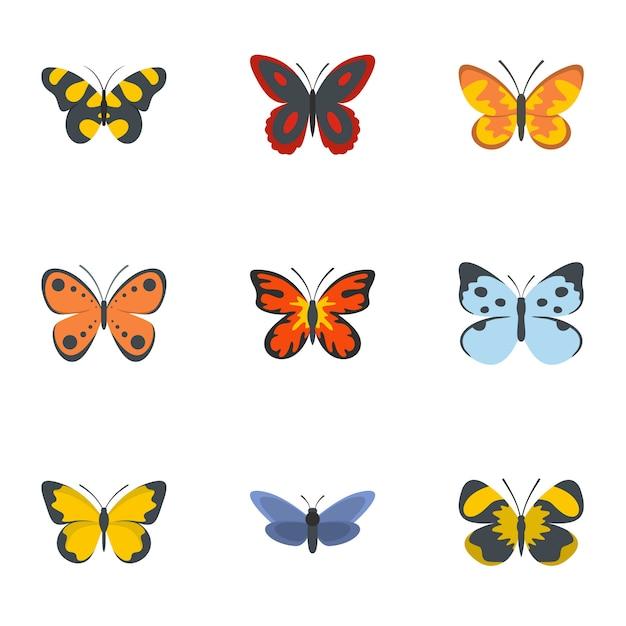 Jeu d'icônes de papillon de nuit, style plat Vecteur Premium