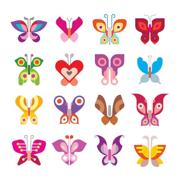 Jeu D'icônes De Papillon Vecteur Premium