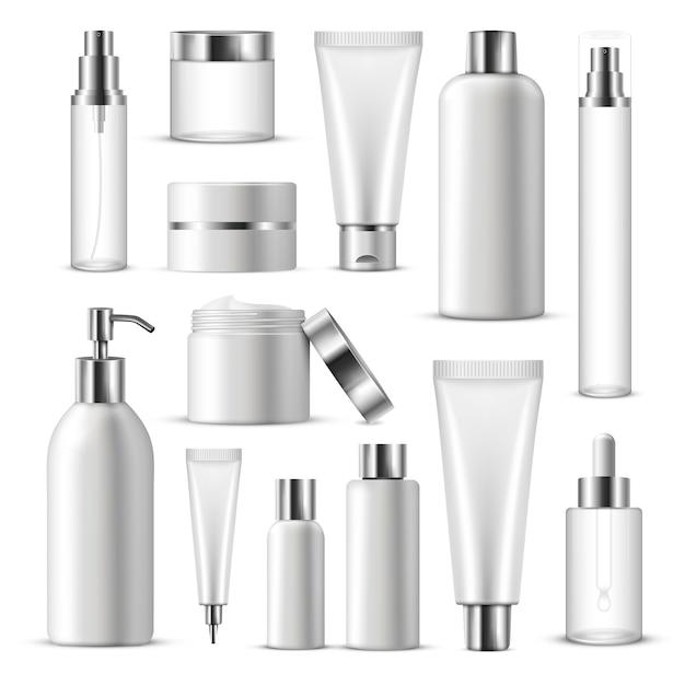 Jeu d'icônes de paquet cosmétique réaliste Vecteur gratuit