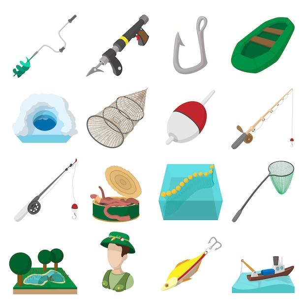 Jeu d'icônes de pêche isolé Vecteur Premium