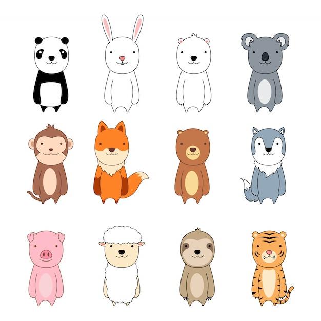 Jeu d'icônes de personnage de dessin animé animal mignon Vecteur Premium