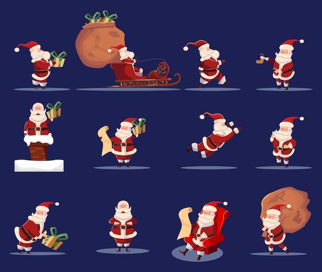 Jeu D'icônes De Personnage De Dessin Animé Drôle De Père Noël Vecteur gratuit