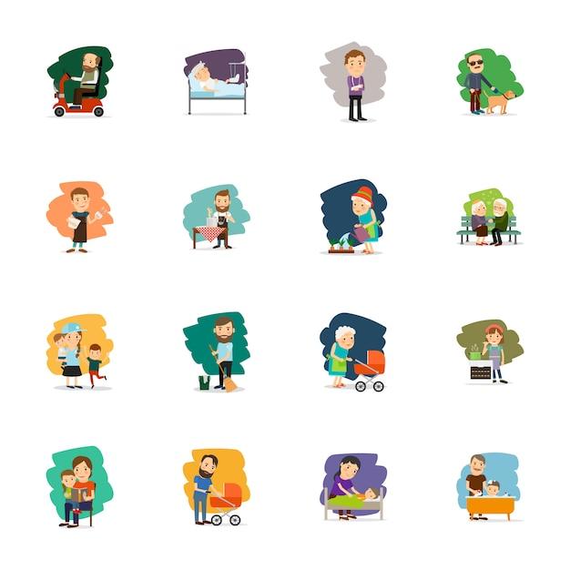 Jeu D'icônes De Personnages Différents Vecteur Premium