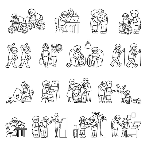 Jeu d'icônes personnes âgées, style simple Vecteur Premium