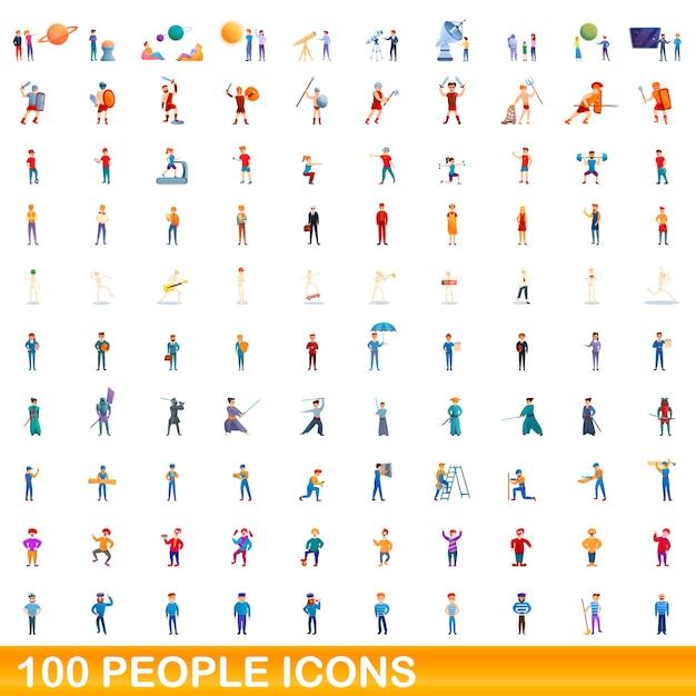 Jeu D'icônes De Personnes, Style Cartoon Vecteur Premium